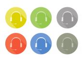 Icon set of sale or service support with headphones rounded buttons in different colours — Stock Vector