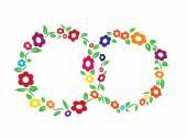 Colored vintage Flower ring frame decoration vector illustration — Stock Vector