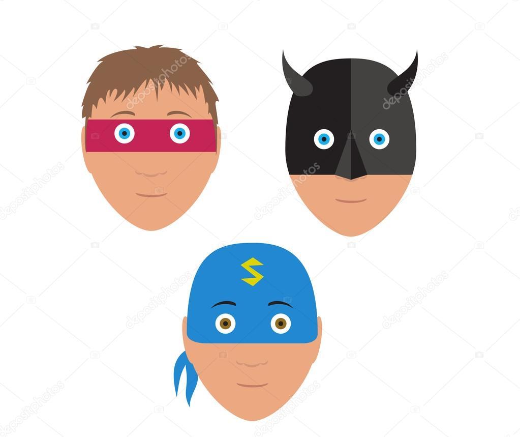 Flat vector set design of cartoon halloween mask — Stock Vector ...