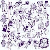 Crazy doodle animals. — Stock Vector