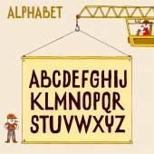 Doodle letters   on crane — Vettoriale Stock