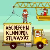 Crane and truck. — Vettoriale Stock