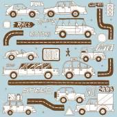 Doodle   cars set. — Stock Vector