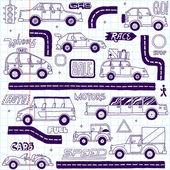 Doodle   cars set. — Vettoriale Stock