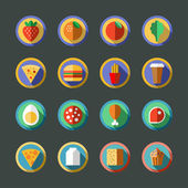 Flat long shadow round food icons. Vector illustration. — Stock Vector