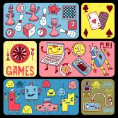 Games doodle banners. — Stock vektor