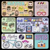 Hipsters doodles set — Stock Vector