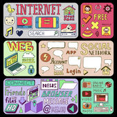 Internet doodles banners. — Stock Vector