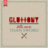 Gluttony kills more than sword — Vector de stock