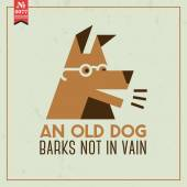 Old dog barks not in vain — Stock Vector