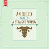Old ox makes straight furrow — Stock Vector