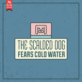 Scalded dog fears cold water. — Stock Vector