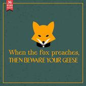 When   fox preaches.  proverb — Stock Vector