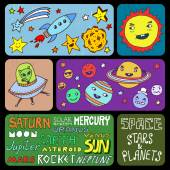 Solar system doodle banners. — Stock Vector