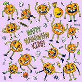 Halloween doodle pumpkins — Stockvektor