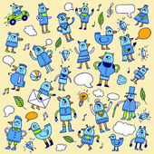 Doodle blue birds. — Stock Vector