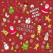 Happy new year doodle set — Stock Vector