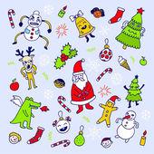 Happy new year doodle set. — Stock Vector