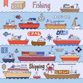 Navios no porto doodle conjunto. — Vetor de Stock