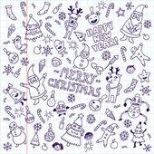 Happy new year doodle set — Vector de stock