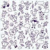 Doodle birds  in school notebook — Stock Vector