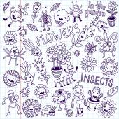 Flowers and insects — Stock Vector