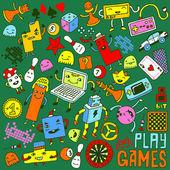 Games doodle set. — Stock Vector