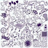 Games doodle set — Stock Vector