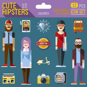 Cute hipster looks — Vector de stock