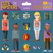 Cute hipster looks — Vecteur