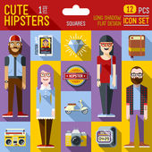 Cute hipster looks — Stock Vector