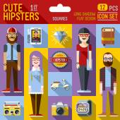 Cute hipster looks — Stock vektor