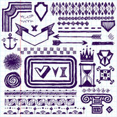 Drawn design elements — Stock Vector