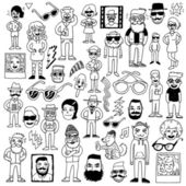 Doodle Hipsters — Stock Vector