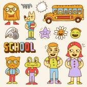 Schoolkids and animals — Stockvector