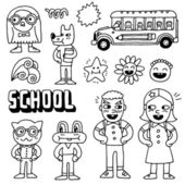 Schoolkids and animals — Vector de stock