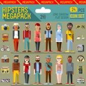 Hipsters megapack icons — Vector de stock