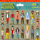 Hipsters megapack icons — Stockvector
