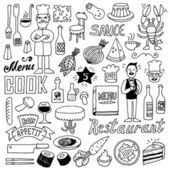 Restaurant doodle set. — Vetor de Stock