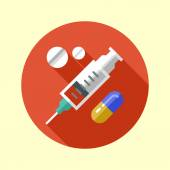 Syringe and pills icon. — Stock Vector