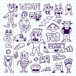 Wacky crazy doodles set — ストックベクタ #77838132