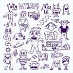 Gekke gek doodles set — Stockvector  #77838132