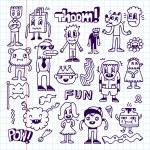 Gekke gek doodles set — Stockvector  #77838138