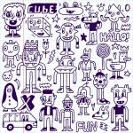 Gekke gek doodles set — Stockvector  #77838390