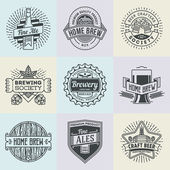 Logotypes home brewery set — Stock Vector