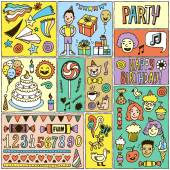 Happy birthday banner cards set — Stock Vector