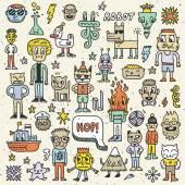 Cartoon wacky childish colorful doodle set — Stock Vector