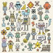 Dessin animé loufoque doodle coloré enfantin ensemble — Vecteur