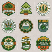 Logotypes natural green product set — Stock Vector