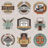 Logotypes home brewery set . — Stock Vector